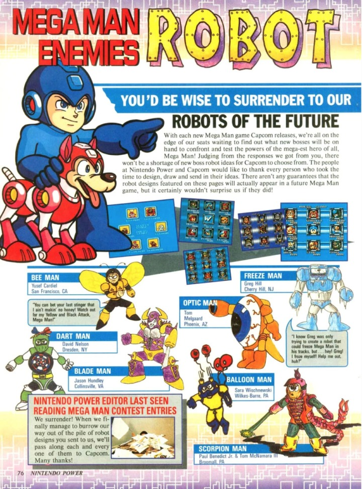 mega man nintendo power boss contest
